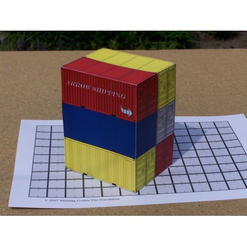 6 20 voets containers in h0 (1:87) - set A - papieren bouwplaat