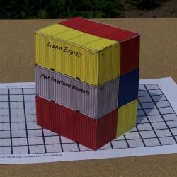 6 20 voet containers in 1:50 - set A - papieren bouwplaat