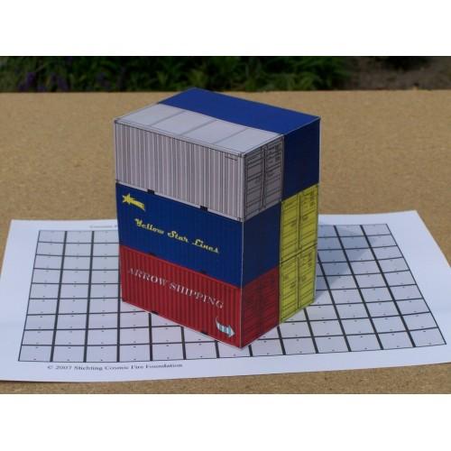 6 20 voets containers in h0 (1:87) - set B - papieren bouwplaat