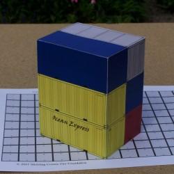 6 20 voet containers in 1:50 - set B - papieren bouwplaat