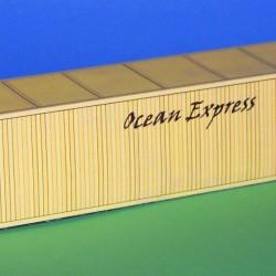 2 Gele 40 voet containers OEL in N (1:160) - papieren bouwplaat