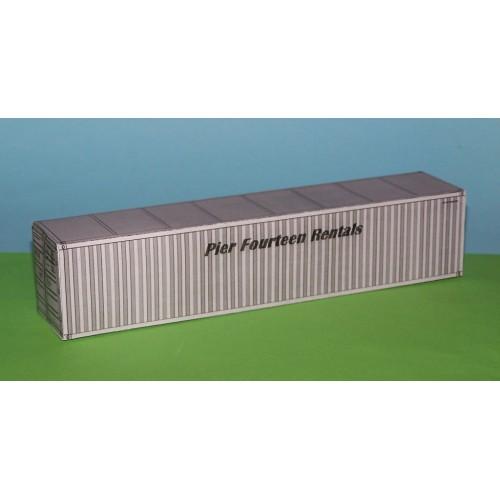 2 Grijze 40 voet containers PFR in N (1:160) - papieren bouwplaat