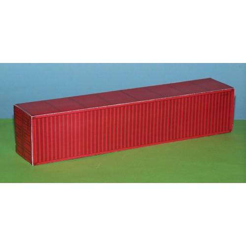 2 Rode 40 voet containers in N (1:160) - papieren bouwplaat