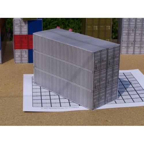 6 Grijze 40 voet containers in N (1:160) - papieren bouwplaat