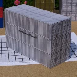 6 Grijze 40 voet containers in 1:50 - gemengd - papieren bouwplaat