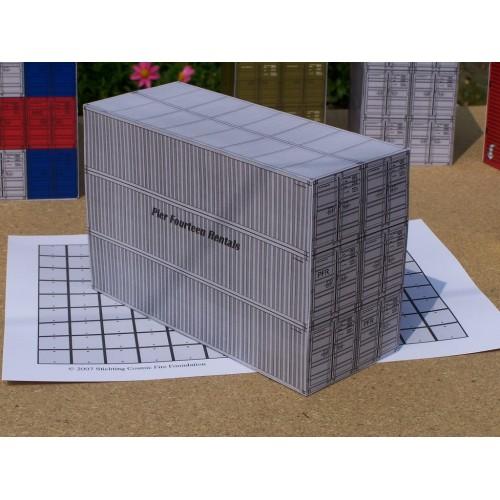 6 Grijze 40 voet containers in h0 (1:87) - gemengd - papieren bouwplaat