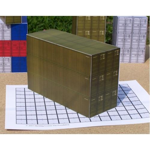 6 Legergroene 40 voet containers in 1:50 - papieren bouwplaat