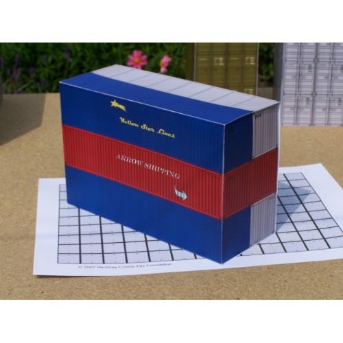 6 40 Voet containers in h0 (1:87 ) - set A - papieren bouwplaat