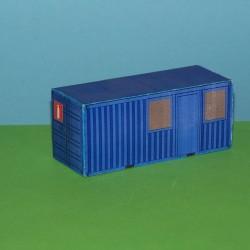 2 Blauwe kantoorcontainers in N (1:160) - papieren bouwplaat