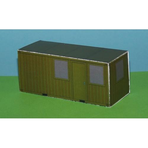 2 Kantoorcontainer, legergroen, in N (1:160) - papieren bouwplaat