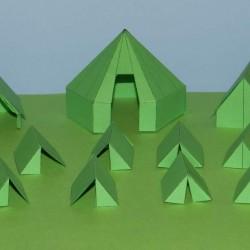Groene leger tenten in 1:56 (28mm) - set A