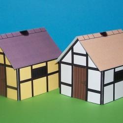 2 Dorpshuisjes voor Warhammer e.d. - papieren bouwplaat