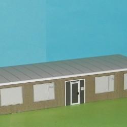 Kantoor, baksteen, in Z (1:220) - papieren bouwplaat