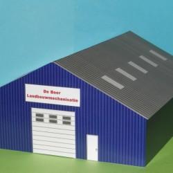 Blauwe loods in N (1:160) - papieren bouwplaat