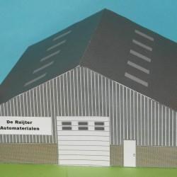 Grijze loods in 1:100 (Team Tankee etc) - papieren bouwplaat