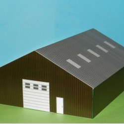 Moderne groene loods in N (1:160) - papieren bouwplaat