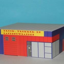 Truck- en trekkerservice in N (1:160) - papieren bouwplaat