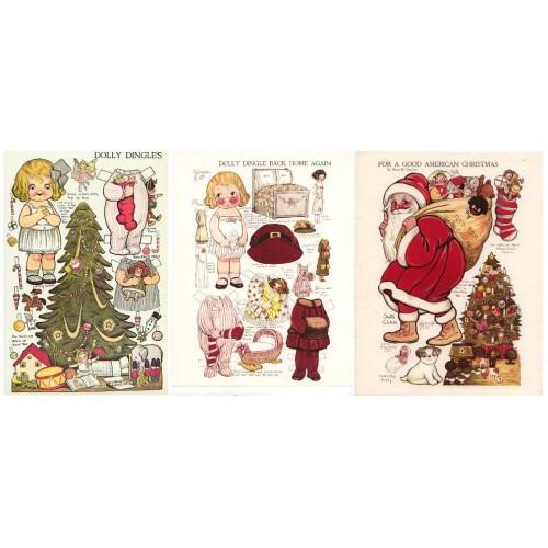 Dolly Dingle Kerst aankleedpopje - 1917 - overdruk
