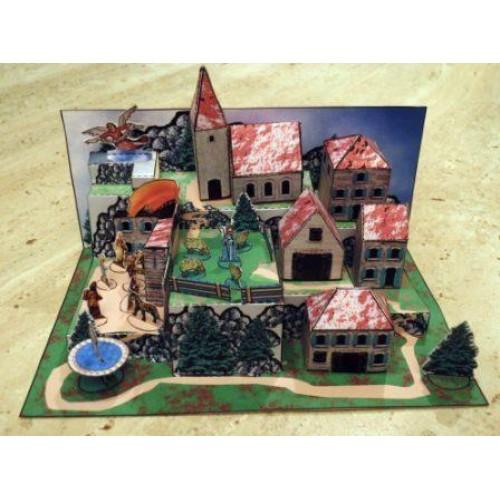 Bergdorpje met Kerststal - papieren bouwplaat - groot