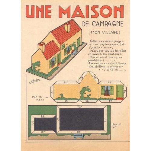 Huis op het platteland - oude papieren bouwplaat