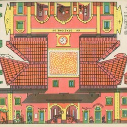 Italiaans stationnetje in schaal h0 (1:87) - oude papieren bouwplaat