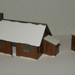 Russisch dorpshuis in 1:72 - model B, winter uitvoering