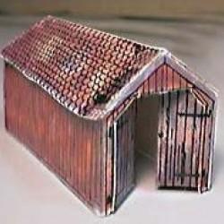 Kleine houten locloods in Z (1:220) - papieren bouwplaat