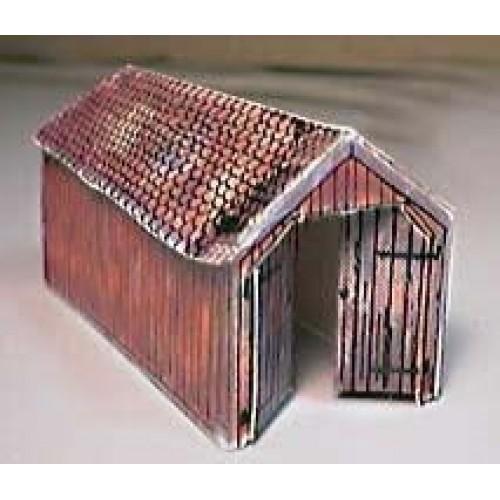Kleine houten locloods in in h0 (1:87) - papieren bouwplaat