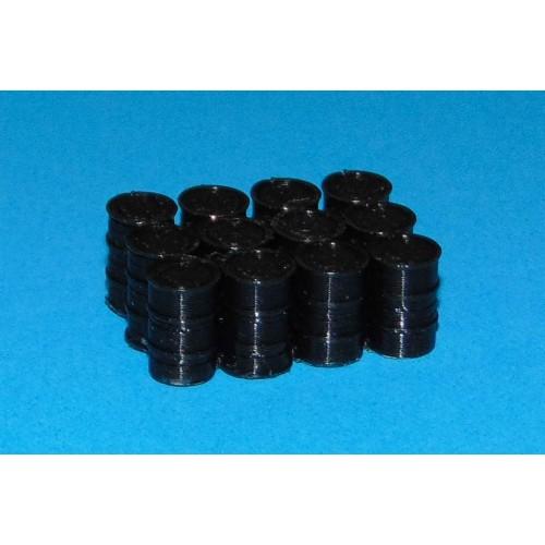 12 Zwarte oliedrums in h0 (1:87)