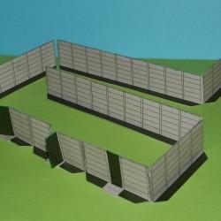 Betonnen schutting in Z (1:220) - papieren bouwplaat