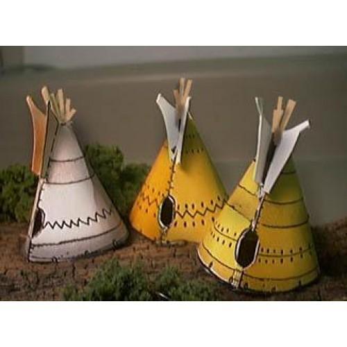 6 Indiaanse teepees in schaal N (1:160) - papieren bouwplaat