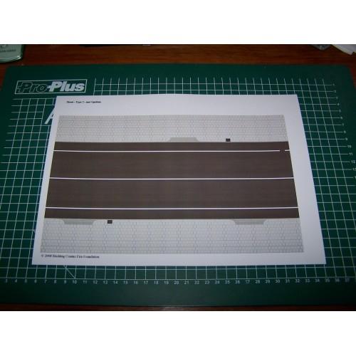 Asfaltstraat met opritten in h0 (1:87) - papieren wegenplaat
