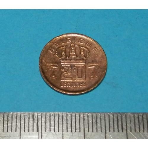België - 20 centimes 1953F