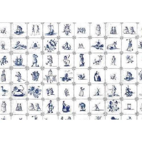 Delfts blauwe tegels voor poppenhuis in 1:12 - A3