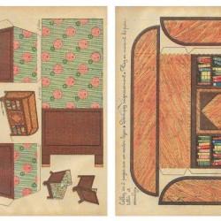 Boekenkast en leunstoel voor poppenhuis - papieren bouwplaat