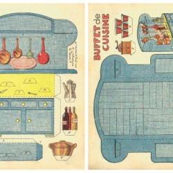 Buffetkast voor poppenhuis in 1:12 - oude papieren bouwplaat