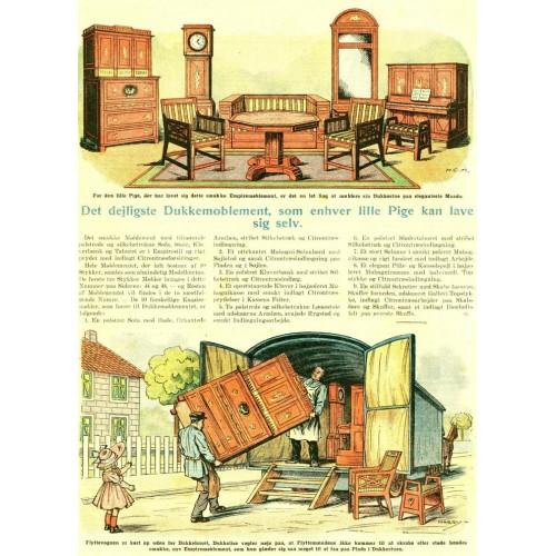 Empire poppenhuis meubeltjes - papieren bouwplaat in 1:12
