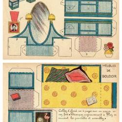 Divan en kaptafel in 1:12 - oude papieren bouwplaat