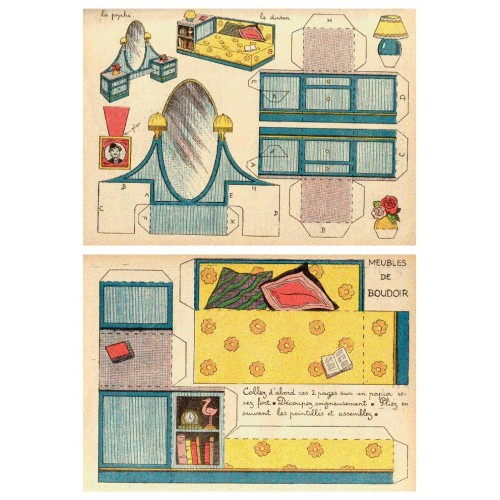 Divan en kaptafel in 1:18 - oude papieren bouwplaat