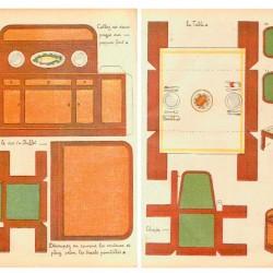 Eetkamer meubels in 1:12 - oude papieren bouwplaat