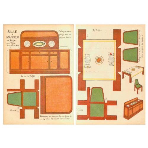 Eetkamer meubels in 1:18 - oude papieren bouwplaat