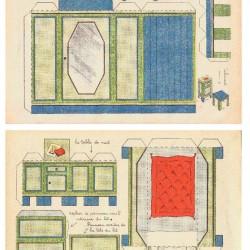 Slaapkamer meubels in 1:18 - oude papieren bouwplaat
