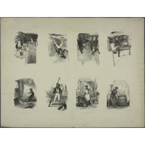 Beroepen - 19e eeuws knipvel - A4