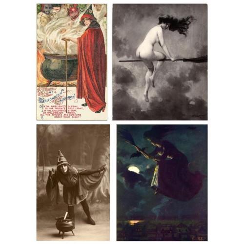 4 Oude Halloween heksen - A4 - zelfklevend