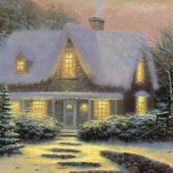 Kerst huis print - A4-vel, zelfklevend
