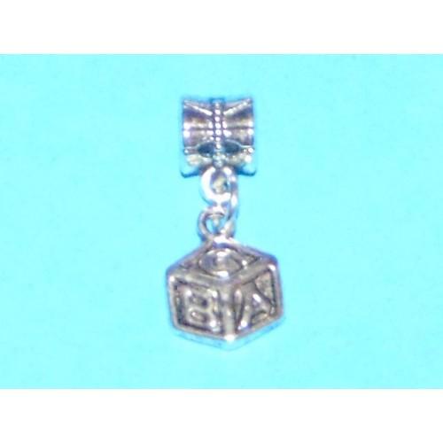 ABC blok bangle, Pandora stijl, Tibet zilver