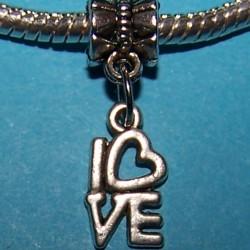 """Love"" bangle, Pandora stijl, Tibet zilver"
