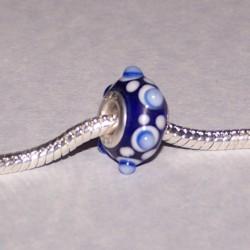 Blauwe Murano bead met lampwerk decoratie, Pandora stijl