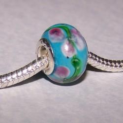 Lichtblauwe Murano bead, Pandora stijl