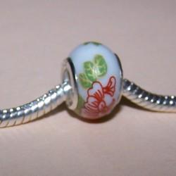 Porseleinen bead met bloem decoratie, Pandora stijl
